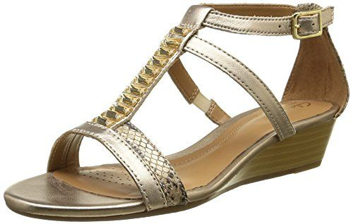 4069809fca3d Buy Clarks Women s Metallic Combi Leather Fashion Sandals - 4 UK India (37  EU