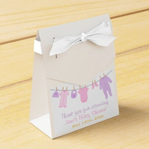 Pink & Purple Little Clothes Baby Shower Party Box