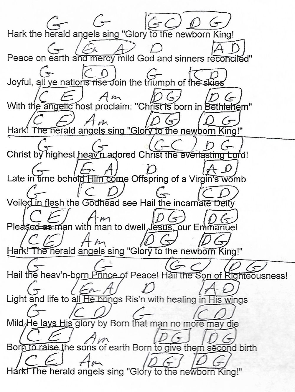 Hark The Herald Angels Sing Christmas G Major Guitar Chord Chart