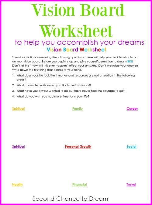 vision board worksheet