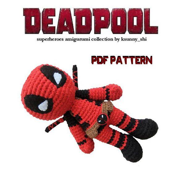 PDF Amigurumi Cochet Pattern Deadpool Crochet superheroes $5.04 ...