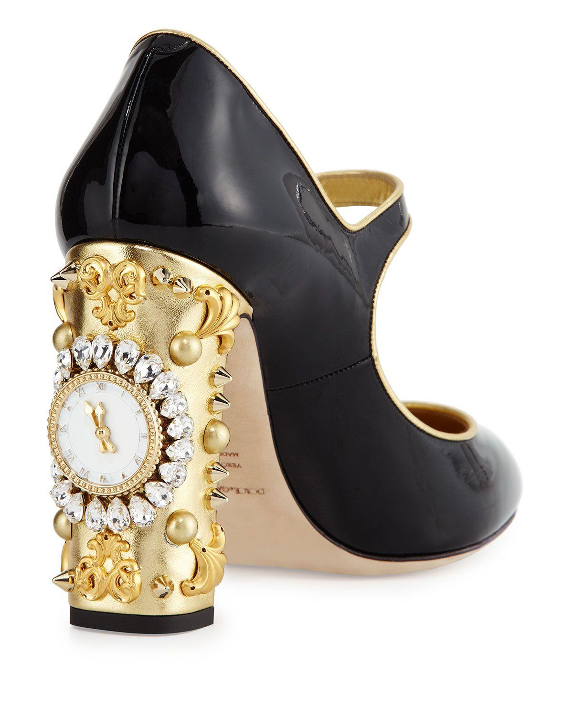 b17cd6ec3320 Dolce   Gabbana - Patent Jeweled Clock-Heel Mary Jane Pump