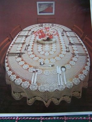 Vintage Crocheted Oval Tablecloth Pattern 58 x 84 Crochet Coats 1260 ...