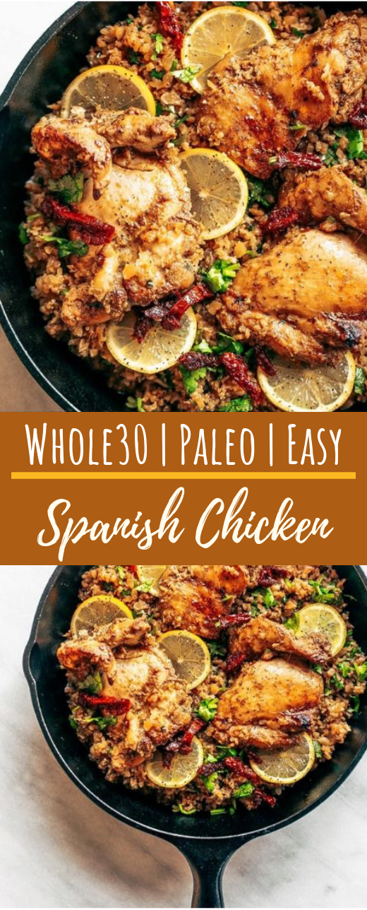 Whole30 Spanish Chicken And Cauliflower Rice #healthy #paleo