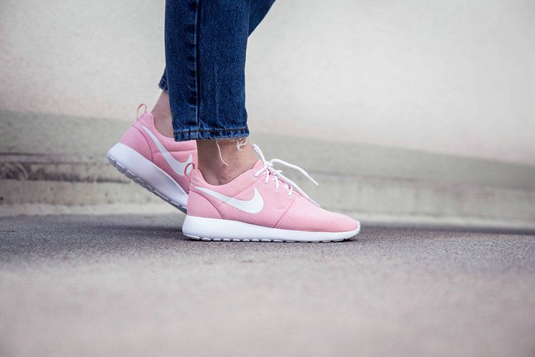 new lifestyle separation shoes picked up Wmns Nike Roshe One Rosherun Sheen Pink White Women Running Shoes ...