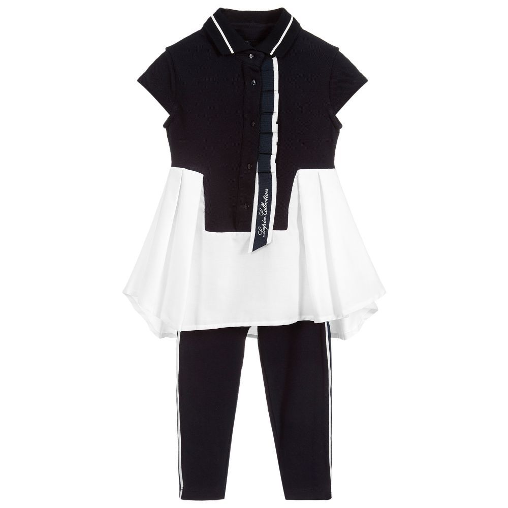 f3c161f3bb29b7 Girls white and navy blue sailor-style dress and leggings set from Lapin  House.