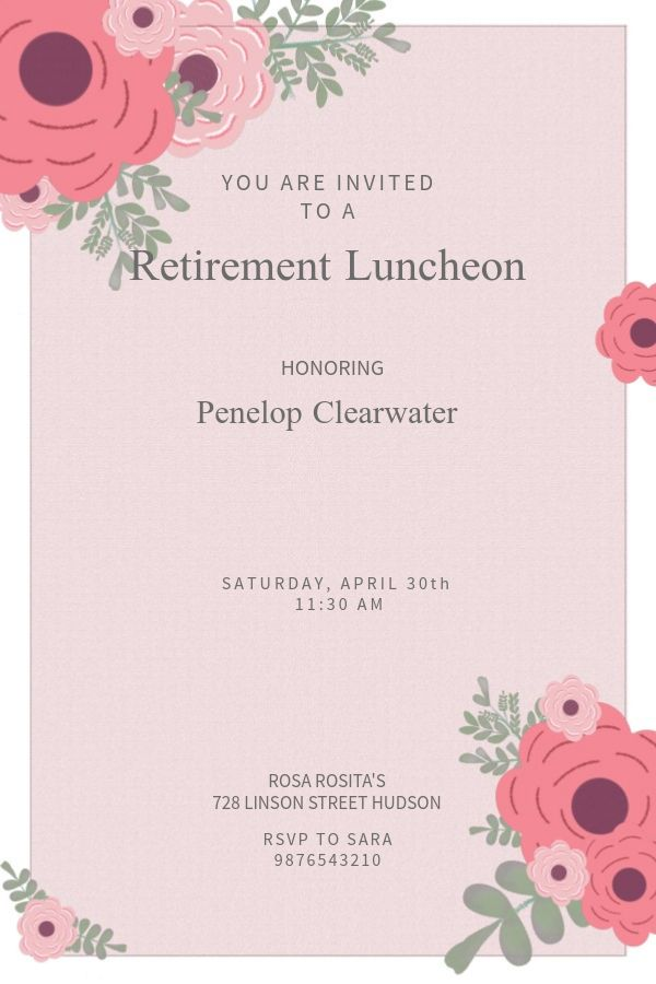 printable retirement party invitation template pink click to