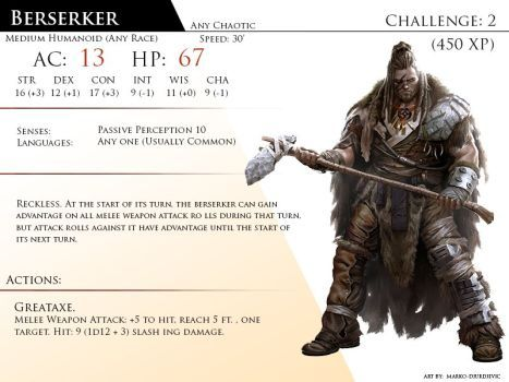 Berzerker By Almega 3 Monster Cards Dnd Monsters Dungeons And Dragons Homebrew