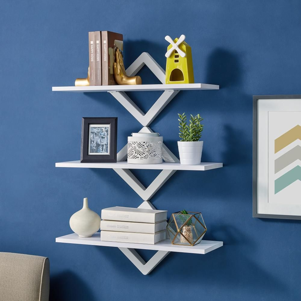 Danya B 3 Shelf 27 5 In X 10 In White Diamonds Wall Mount Decorative Shelving Unit Wl D101wh The Home Depot Decorative Shelving Danya B Decorating Shelves