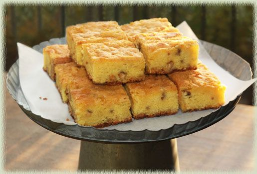 Meyer Lemon Walnut White Chocolate Chip Blondies