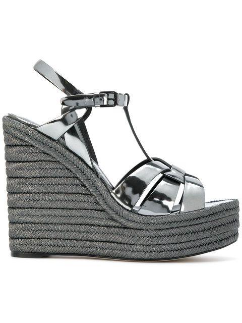 5b78ec83780 SAINT LAURENT Espadrille 95 T-strap wedge sandals. #saintlaurent #shoes # sandals