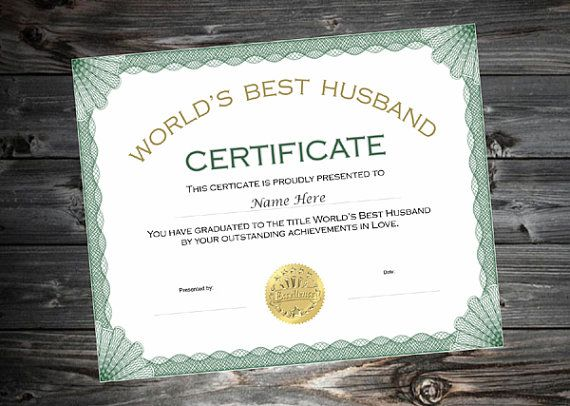 Buy 2 get 1 free best husband certificate humor love valentine awesome present for husbands birthday or anniversary yelopaper Images