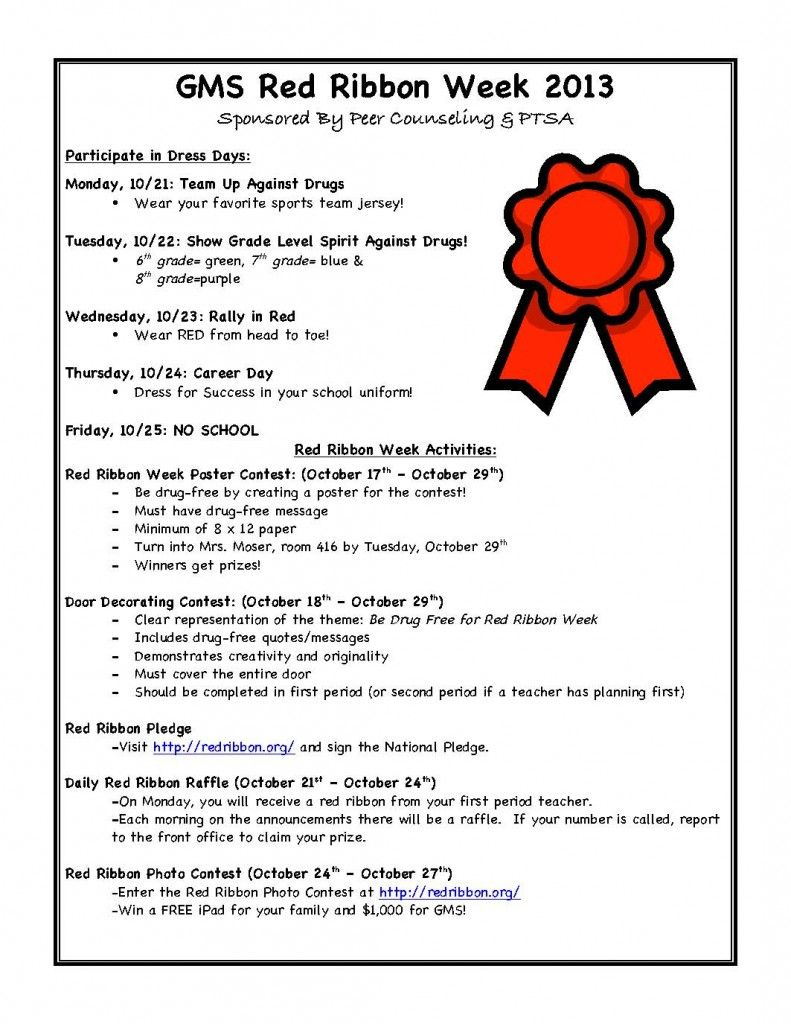 It Is Red Ribbon Week See Flyer For Activities Sponsored By Peer Counseling And Ptsa Glades Middle School Ptsa Red Ribbon Week Red Ribbon School Spirit Week [ 1024 x 791 Pixel ]