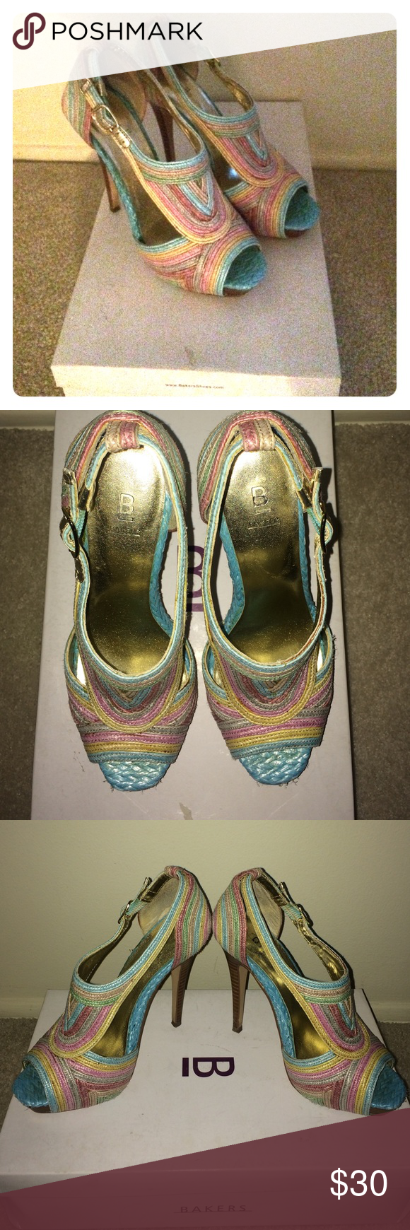 Baker Multi-Colored Pumps Bakers Size 6.5 Pump, Multi-Colored. These shoes are stunning and great for summer! Worn a couple times, in great condition. Bakers Shoes Heels