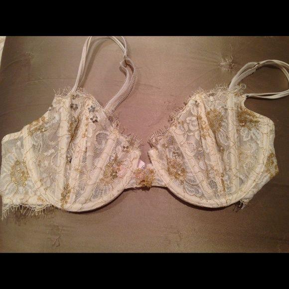 Victoria Secret's lace bra Victoria Secrets Demi cup beautiful  gold detail -36C Victoria's Secret Intimates & Sleepwear Bras