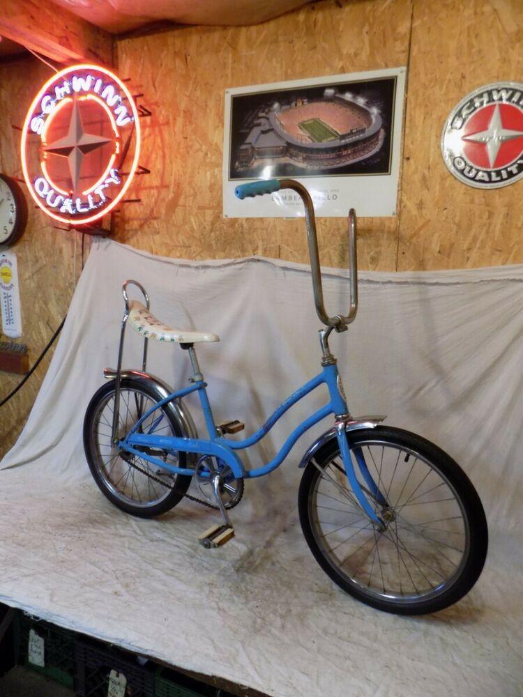 Ebay Sponsored 1973 Schwinn Fair Lady Stingray Muscle Bicycle Banana Seat Blue Vintage Rat Rod Schwinn Vintage Cool Bike Accessories Schwinn