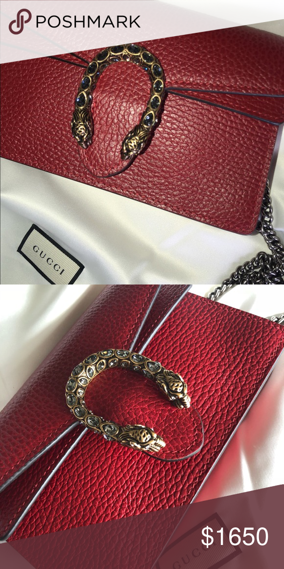 61ff482f7 Red genuine leather Dionysus Gucci bag Genuine leather. Tiger head spur  with Swarovski crystals. Hand painted edged & hand stitched details.