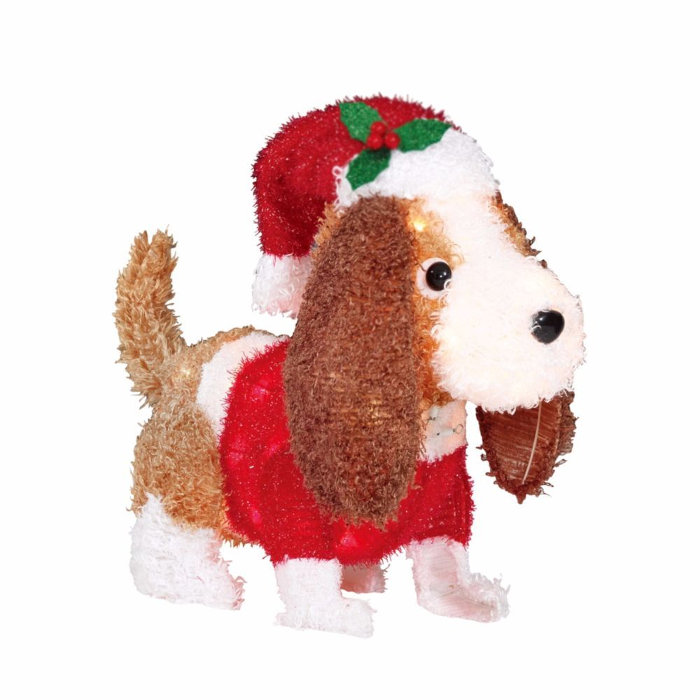 Holiday Time Light Up Fluffy Spaniel Dog Christmas Yard Decor Indoor Outdoor Holidaytime