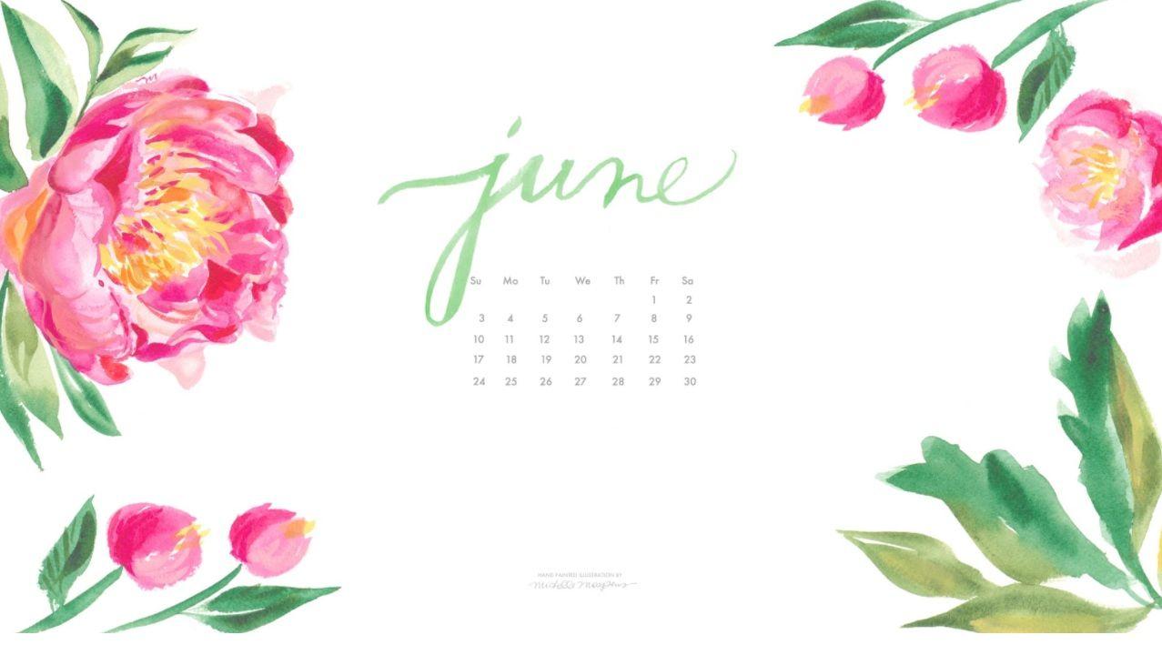 Watercolor June 2018 Desktop Calendar Desktop Wallpaper Calendar Desktop Calendar Calendar Wallpaper