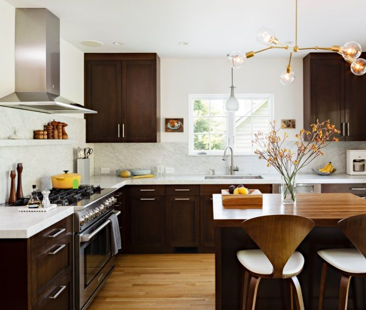 Dark Kitchen Cabinets With Light Countertops: Dark Wood Cabinets, Dark Wood And Pendant Lighting
