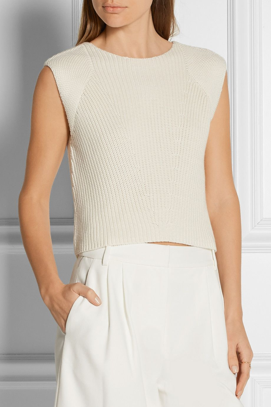 Adam Lippes | Ribbed-knit cotton, cashmere and silk-blend top | NET
