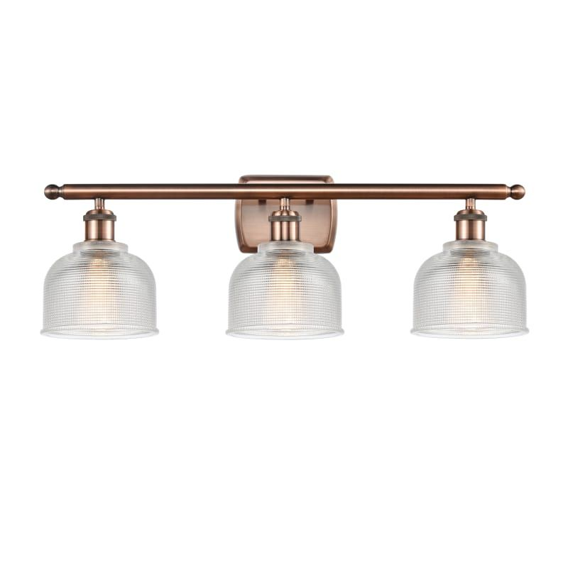 "Photo of Innovations lighting 516-3W Dayton Dayton 3 Light 26 ""wide bathroom basin lamp antique copper / clear interior lighting bathroom lamps basin lamp"