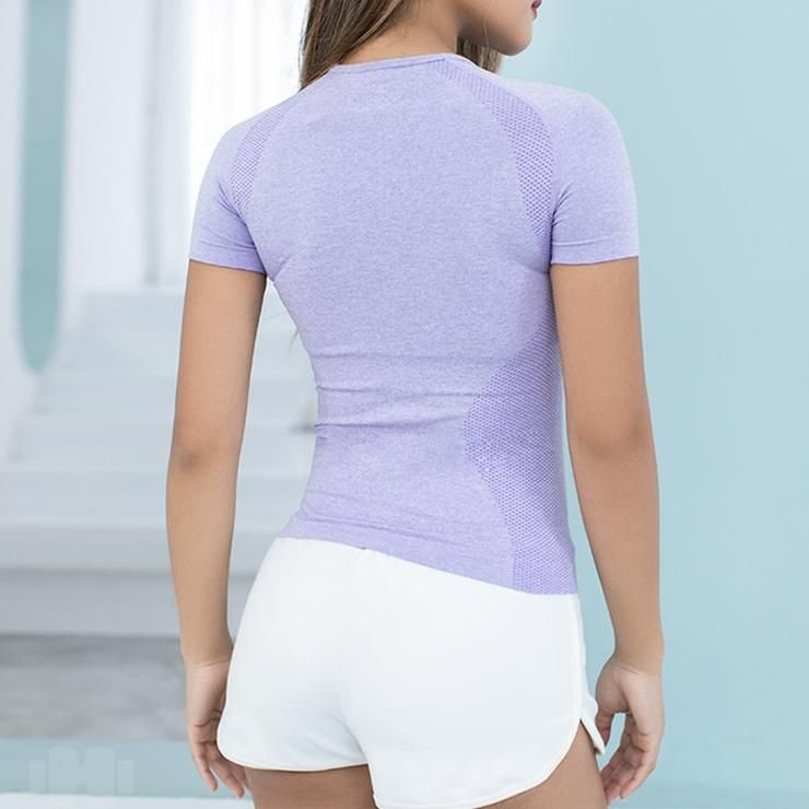 Women/'s Energy Seamless Yoga Shirts Short Sleeve Fitness Gym Top Active Workout