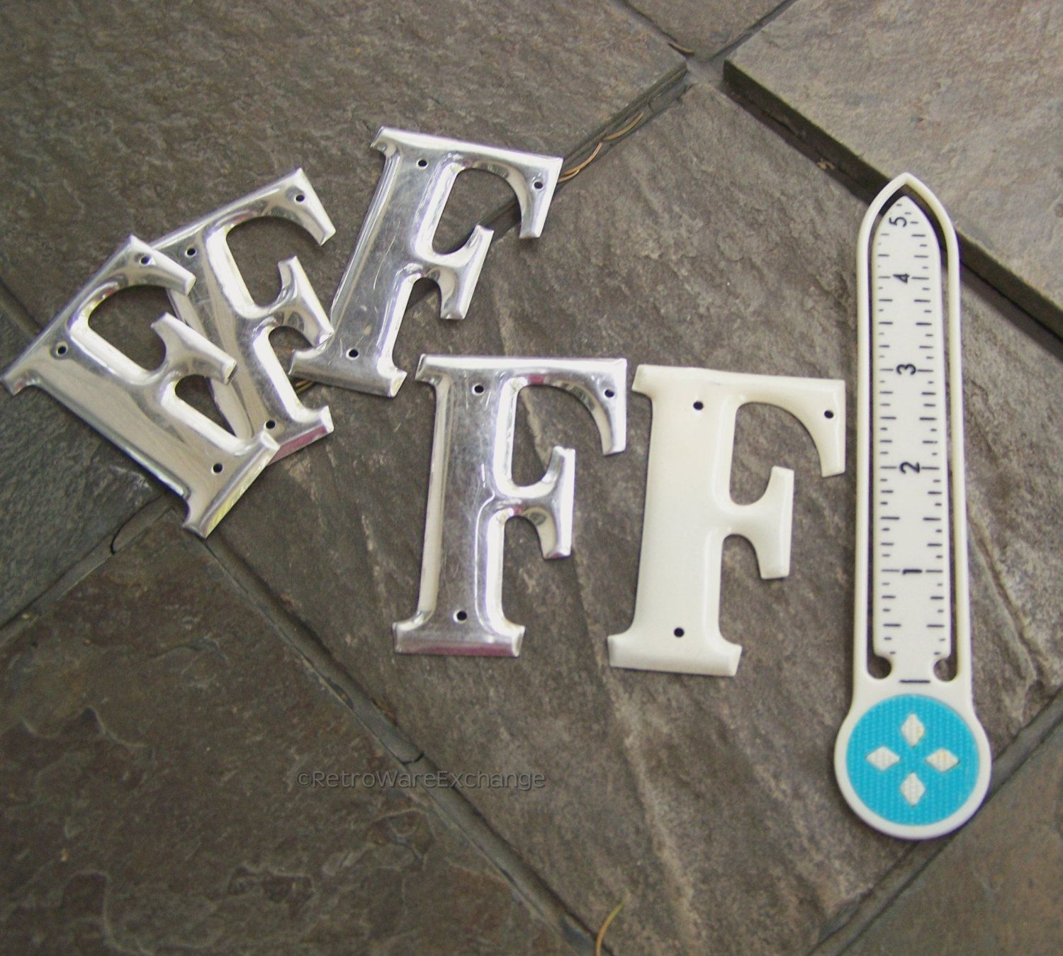 10 Inch Metal Letters Vintage 3 Inch Metal Letter  Letter F  Silvertone White Finish