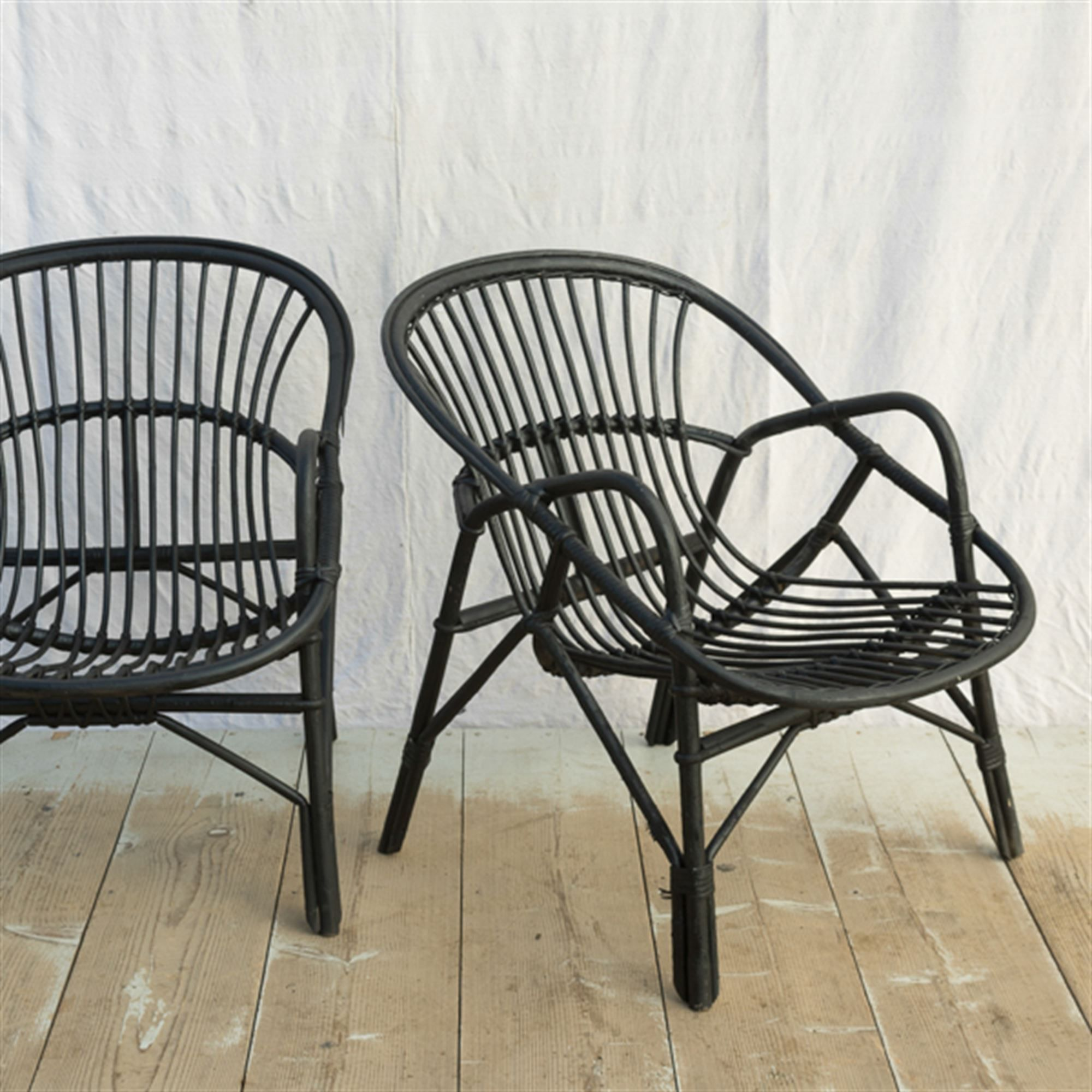 Black Rattan Accent Chairs Elsie Green Rotin