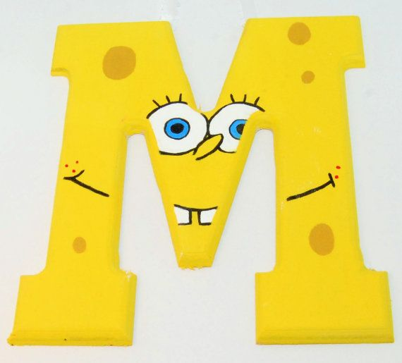 Spongebob theme hand painted wooden wall letters to hang in boy or ...