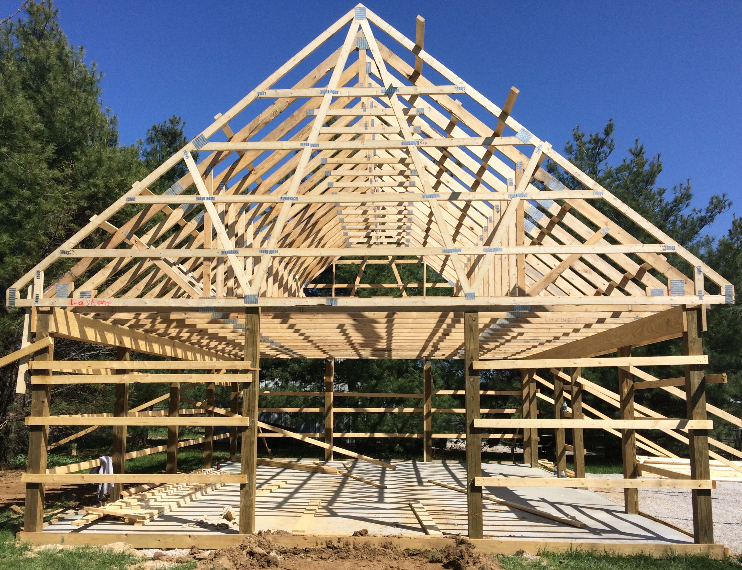 Framing Of 24 X 32 Pole Barn With 10 12 Pitch Roof And Attic Trusses This Will Create A 32 X 12 X 9 Room Upstai Pole Barn Kits Barn Kits Building A Pole Barn