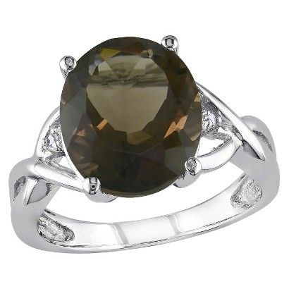 3.75 CT. T.W. Smokey Quartz and .01 CT. T.W. Diamond 3-Prong Setting Ring in Sterling Silver (I3)