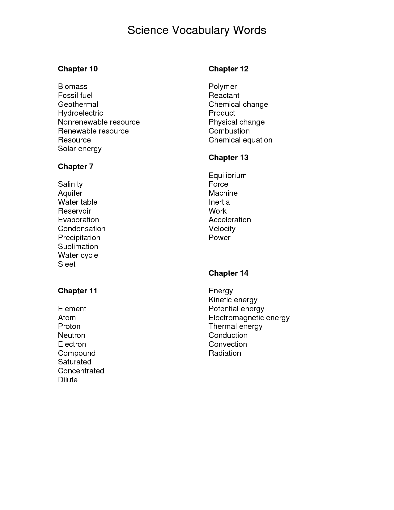 Science Vocabulary Word List In