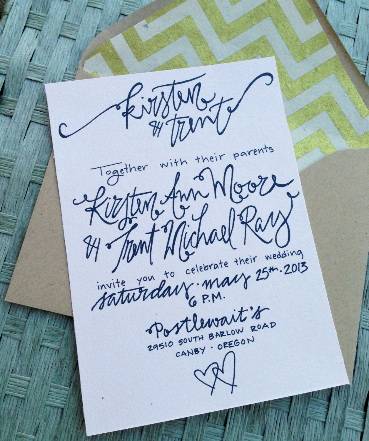 Calligraphy Wedding Invitation . $3.00, via Etsy.