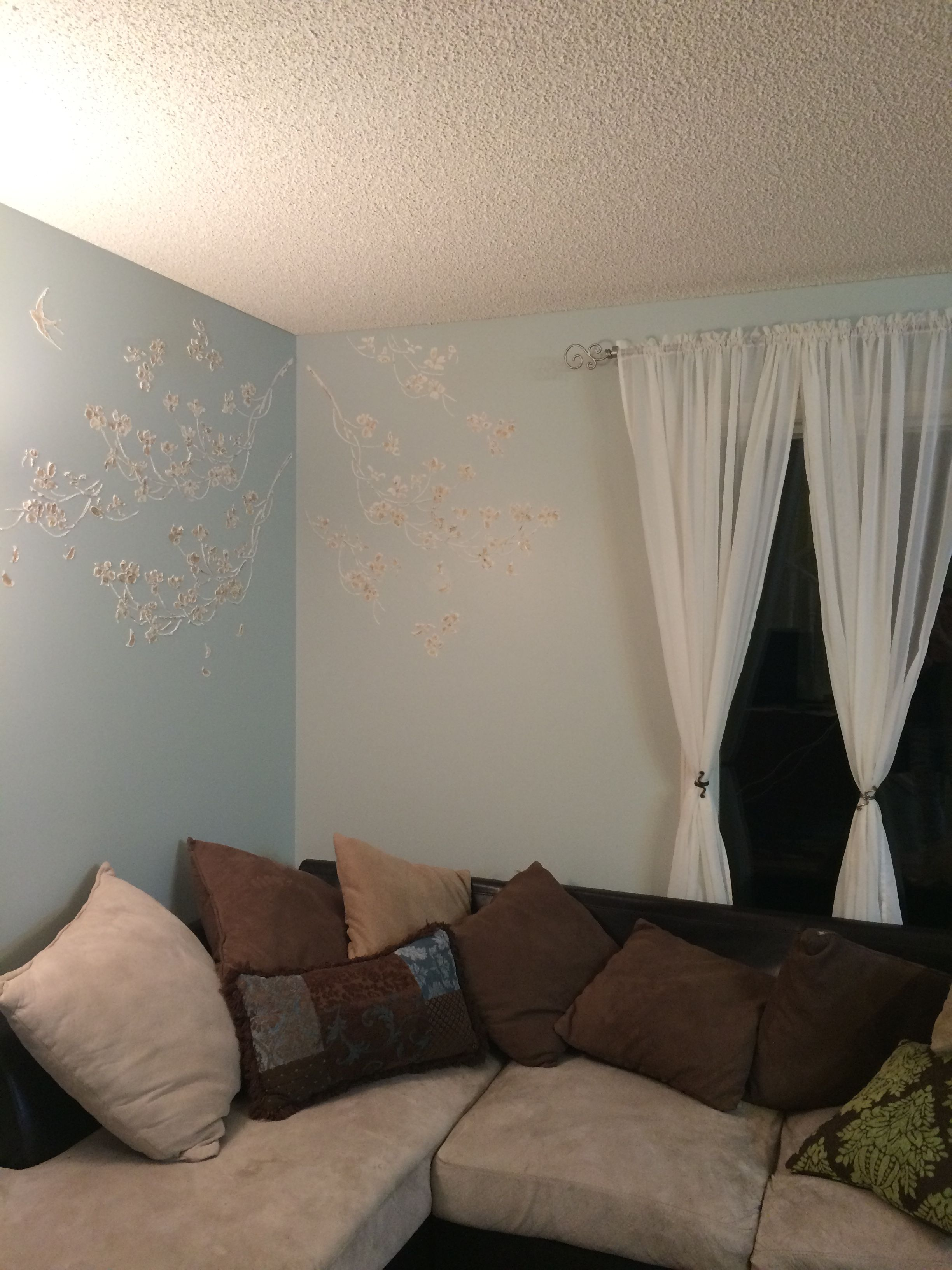 3D Plaster (Premixed Drywall Paste) Highlighted With Gold Shimmer Acrylic