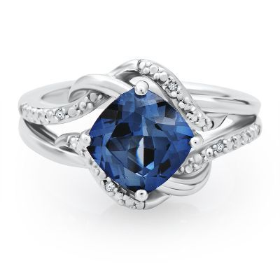 Cushion Cut Lab-Created Blue Sapphire Ring with Diamond Accents in Sterling Silver, available at #HelzbergDiamonds