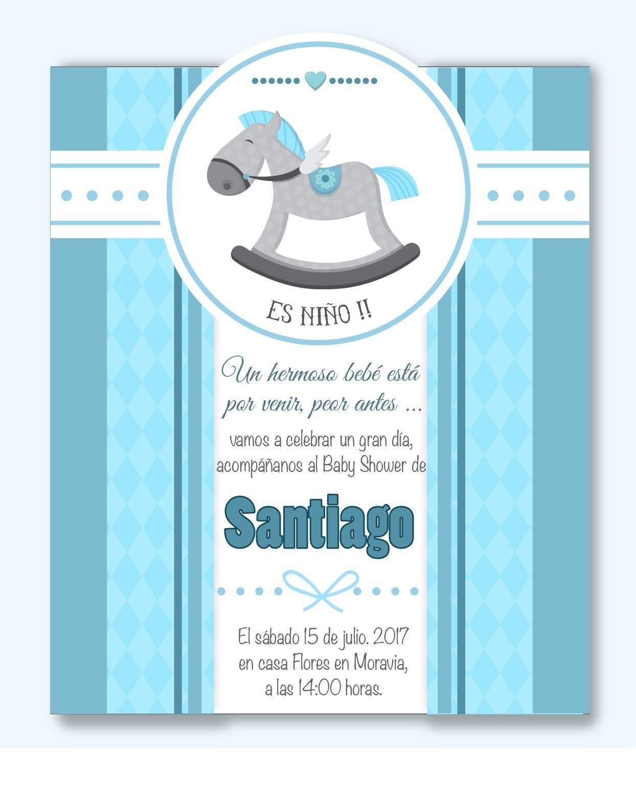 Invitación Baby Shower Niño Mod Bs08 Incluye Diseño