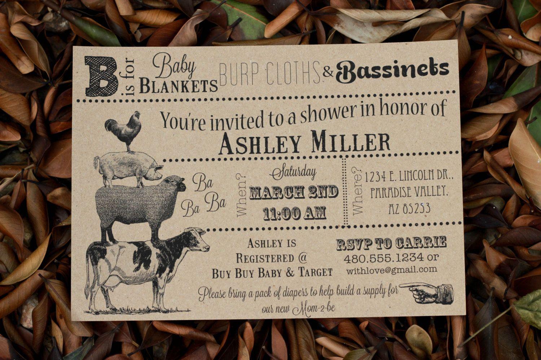 Vintage Farm Animal Baby Shower Invitation You Print 7 00 Via Etsy