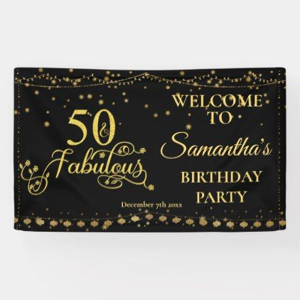 50th Birthday Party 50 Fabulous Glitter Black Banner | Zazzle.com #50thbirthdaypartydecorations