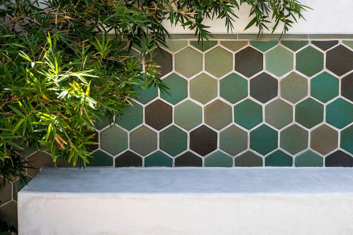 Outdoor Tile Ideas Love This Green Concrete Hexagon Tile Wall As