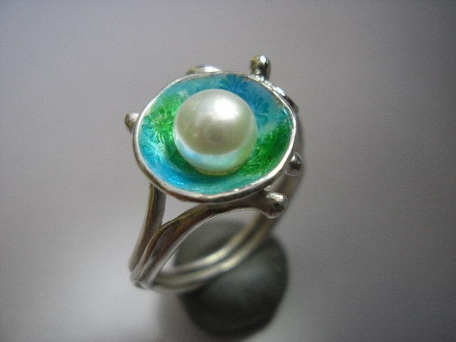Reef No.4 Pearl, Silver and Enamel Ring