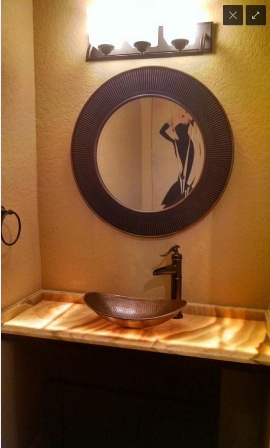 Onyx Bathroom Countertop Vessel Sink Copper Bathroom Remodel - Onyx bathroom remodel