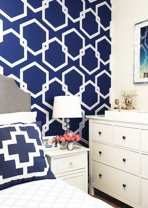 in love with this wallpaper accent wall Striped accent