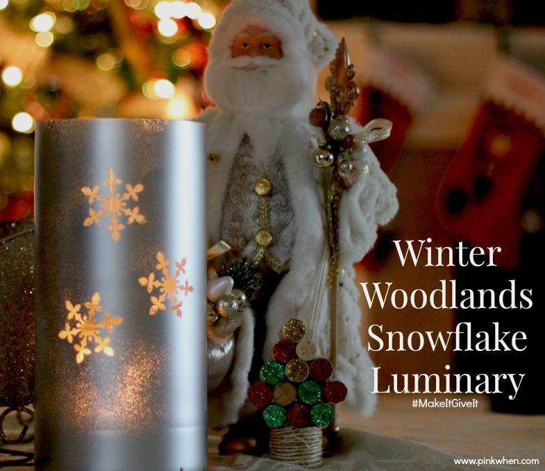 Winter Woodland Snowflake Luminary via @pinkwhen