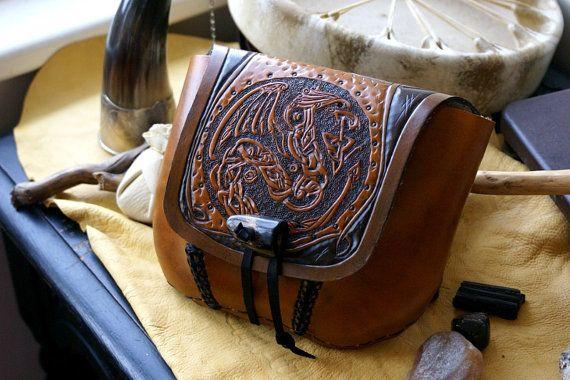 Leather Belt Bag DragonCeltic Knot Work Leather by sevenannine, $125.00