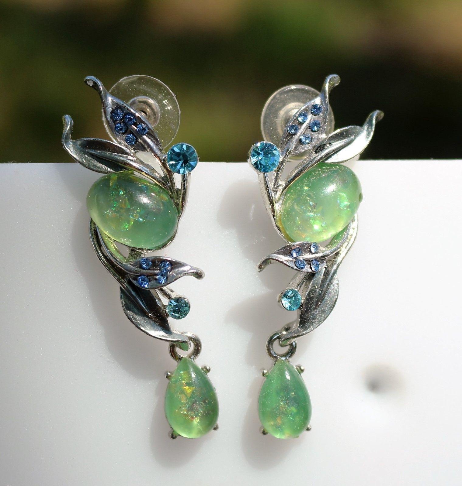 Body piercing earrings  Victorian style faux opal and blue rhinestones silver tone pierced
