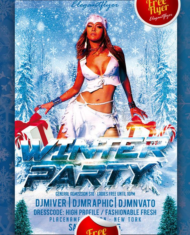 Free Winter Party Flyer Psd Template  Graphics    Free