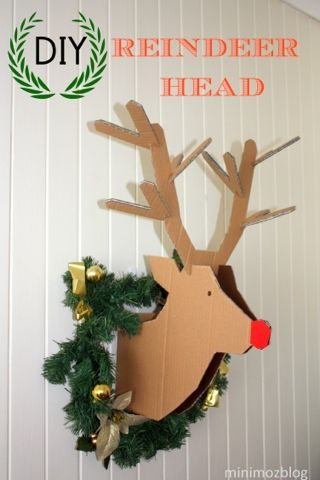 Diy reindeer cardboard head glad i have all that cardboard left minimoz diy reindeer cardboard head wreath for minimal cost full instructions template to make your own rudolf pronofoot35fo Gallery