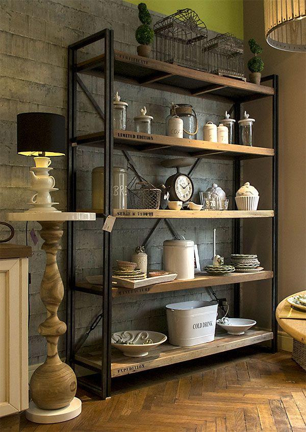 libreria legno grezzo e metallo #arredomilano #valterpisati ...