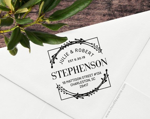 Photo of Wood Mounted Wreath Address Stamp, Modern Wreath Return Address Stamp, Return Address Stamp, Custom Address stamp, #S061W